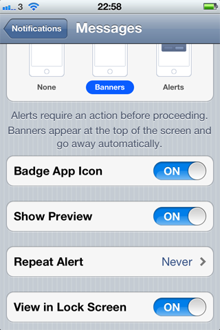 iPhone messages notifications settings screen